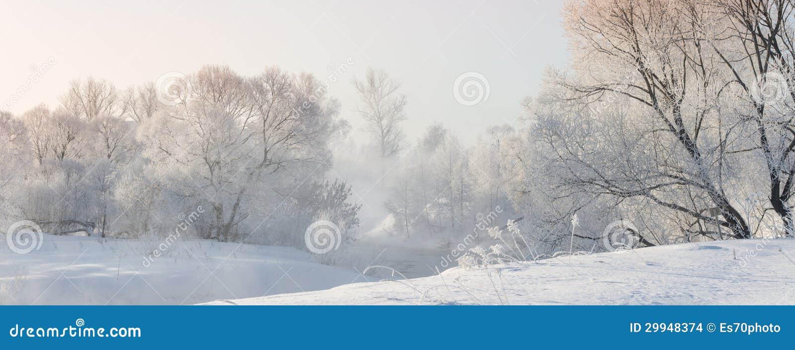 Winterbäume nahe einem Fluss, der mit Hoar am Morgen bedeckt wurde, beleuchteten mit