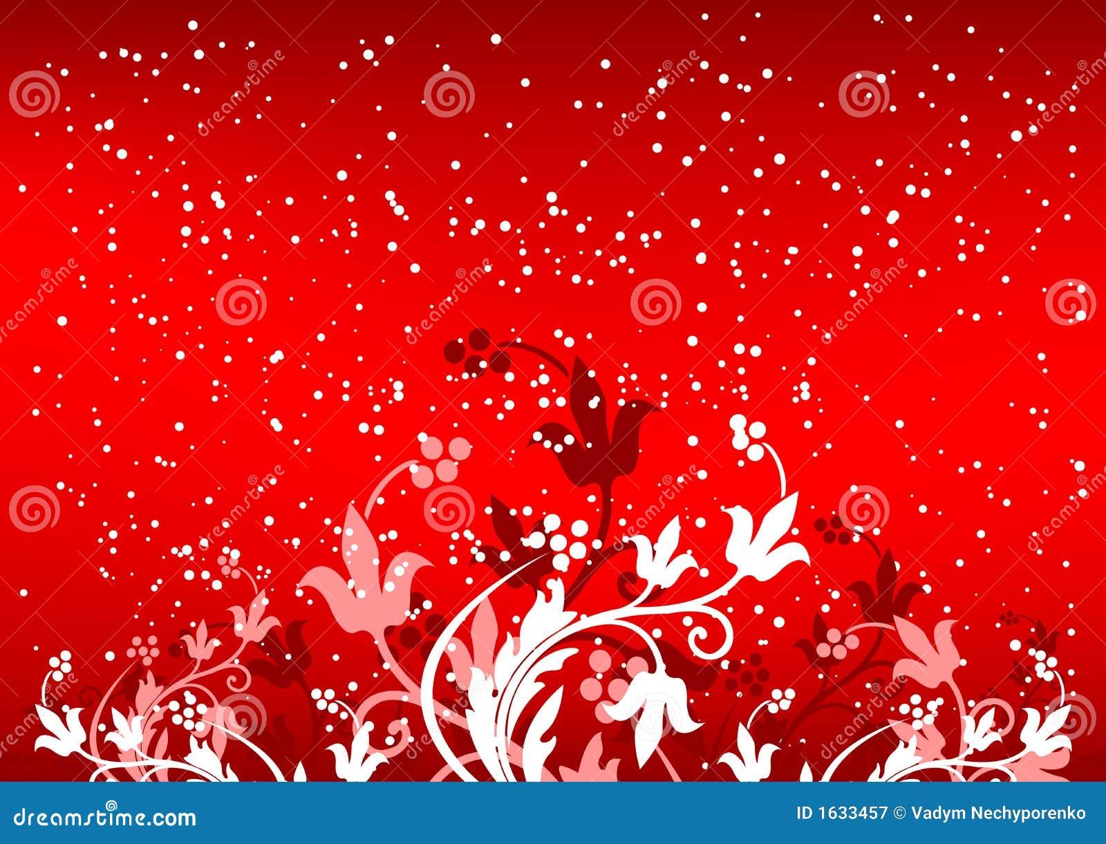 Winterbackground abstracto con las escamas y las flores en color rojo