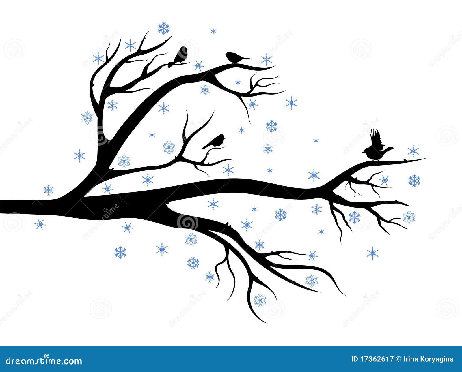 Winterbaum mit Vögeln