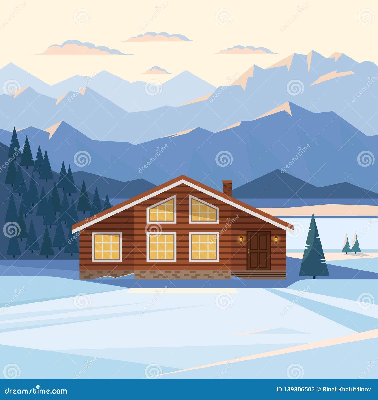 Winterberglandschaft mit Holzhaus, Chalet, Schnee, belichtete Bergspitzen, Hügel, Wald, Fluss, Tannenbäume