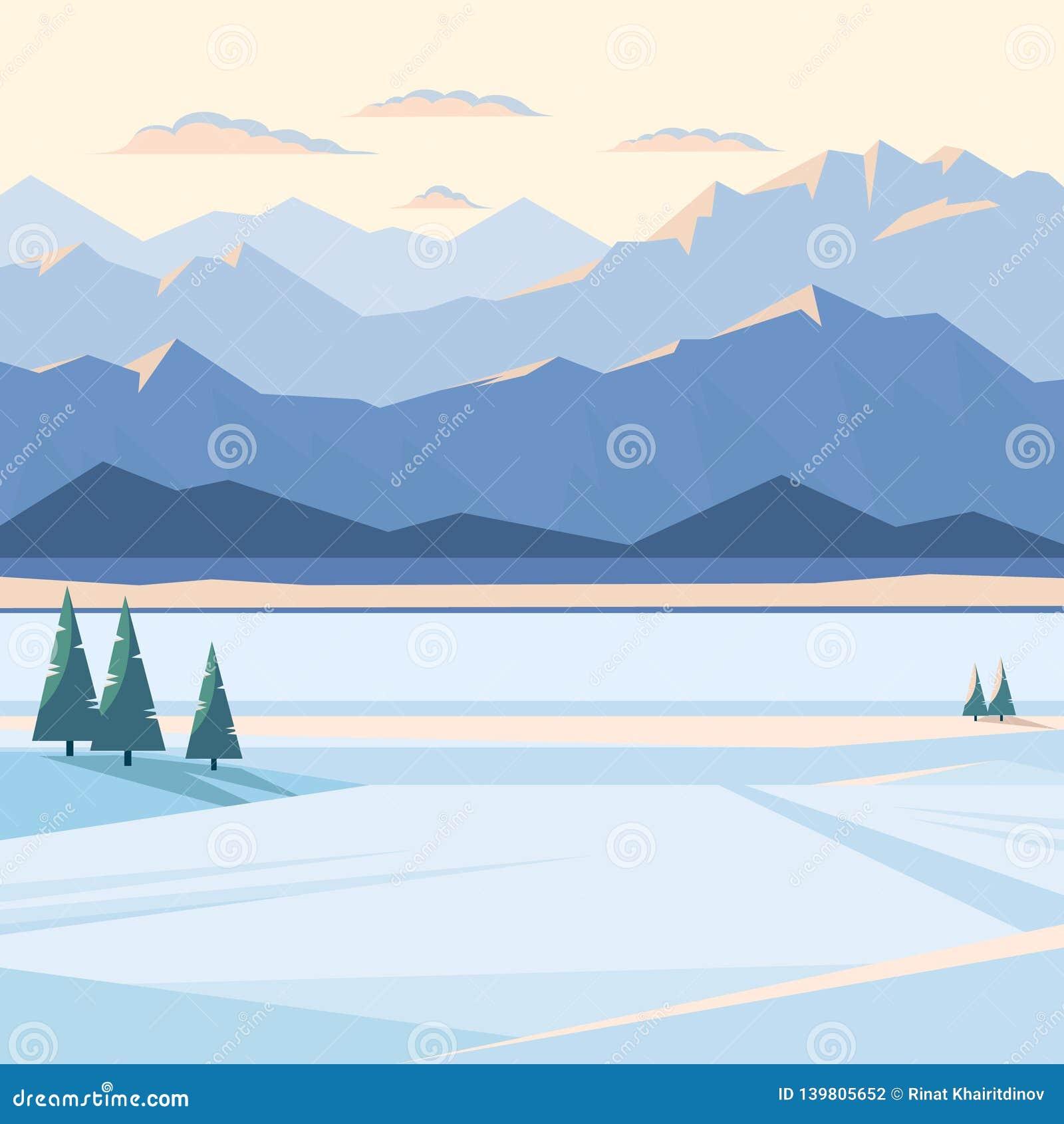 Winterberglandschaft mit Schnee und belichteten Bergspitzen, Fluss, Tannenbaum, Ebene, Sonnenuntergang