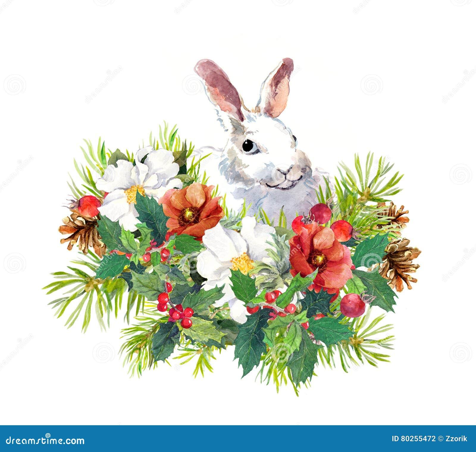 Winterkaninchen, Blumen, Kiefer, Mistelzweig Weihnachtsaquarell für Grußkarte mit nettem Tier