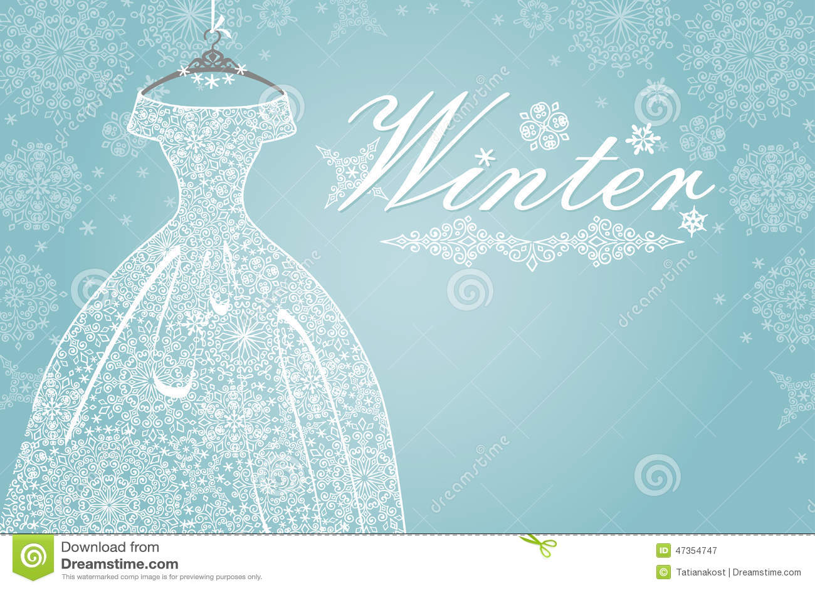 Winterkarte Brautkleid Mit Schneeflockenspitze Stockbild - Bild von ...