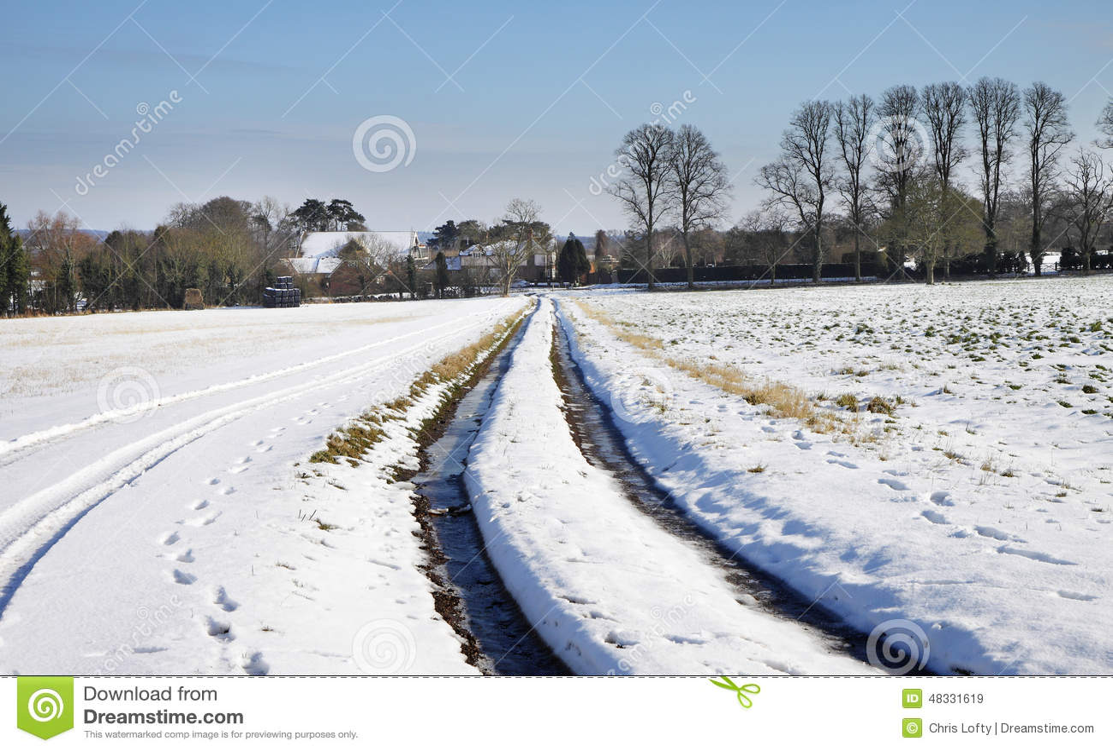 Winterlandschaft in ländlichem England