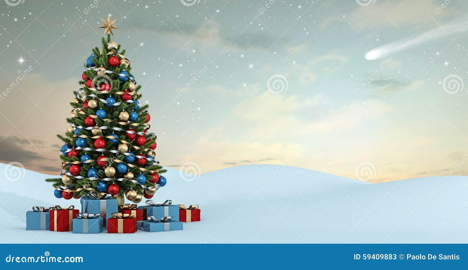 Winterlandschaft mit buntem weihnachtsbaum stock abbildung - Winterlandschaft dekoration ...
