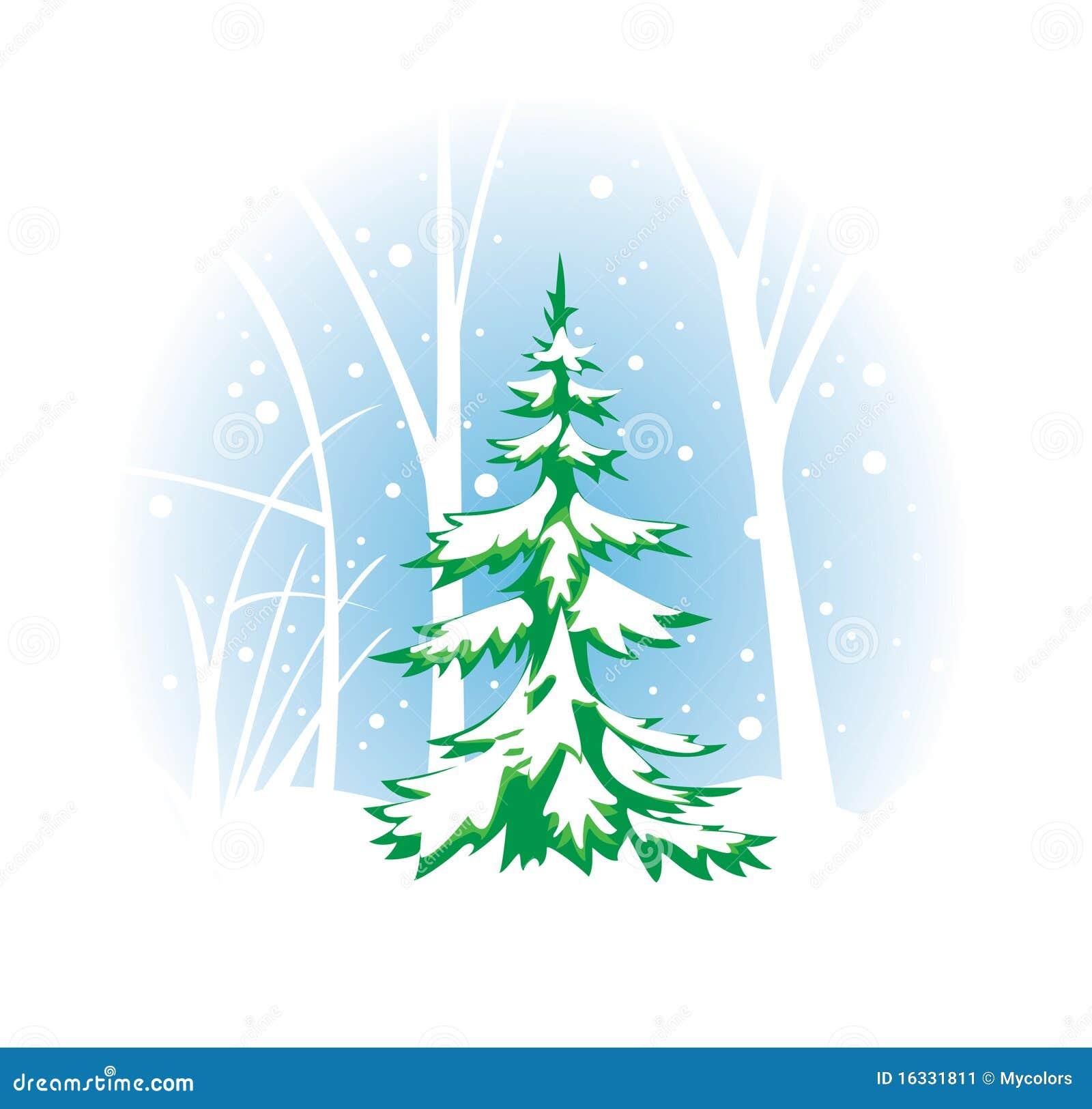 Winterliche Abbildung Mit Tannenbaum Vektor Abbildung ...