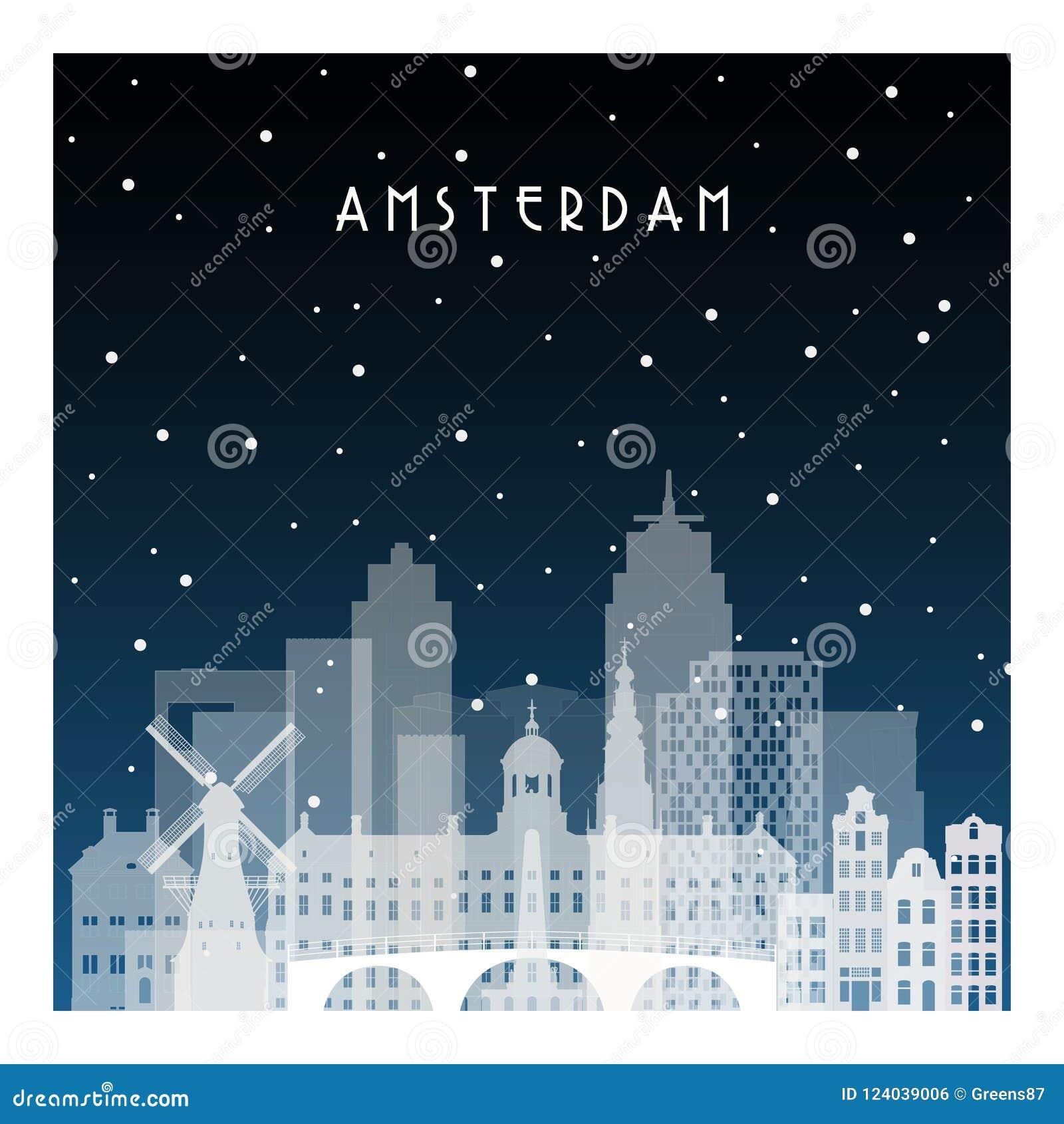 Winternacht in Amsterdam