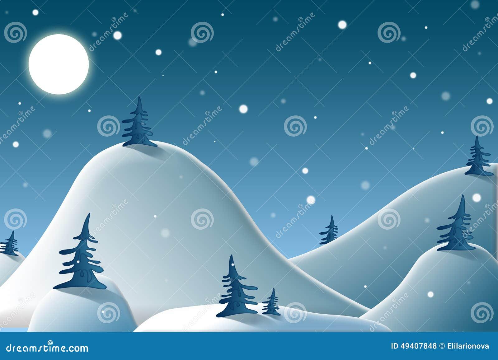 Download Winternacht in den Bergen stock abbildung. Illustration von schönheit - 49407848