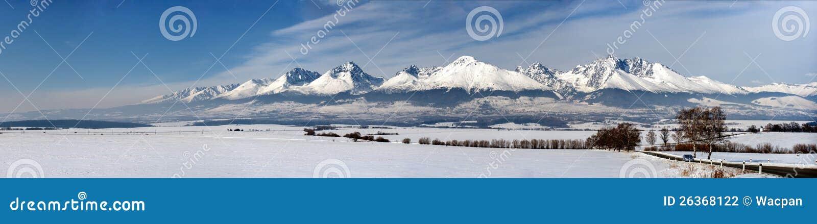 Winterpanorama der hohen tatry Berge