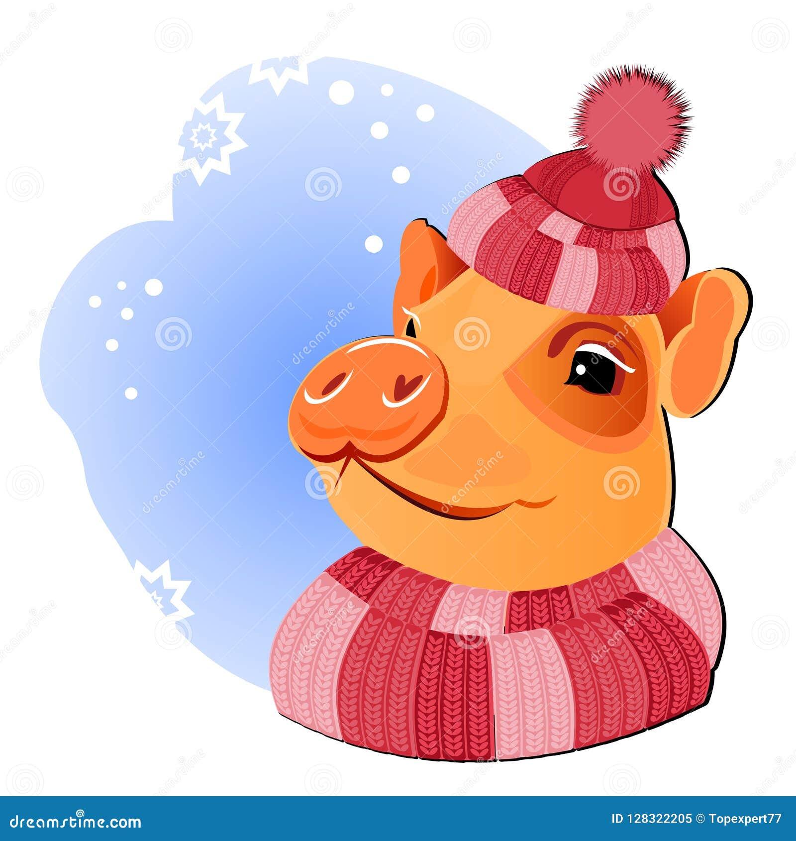 Gelbe Karte Lustig.Winterschwein Schwein Piggy Glückliches Schwein Neues Neues