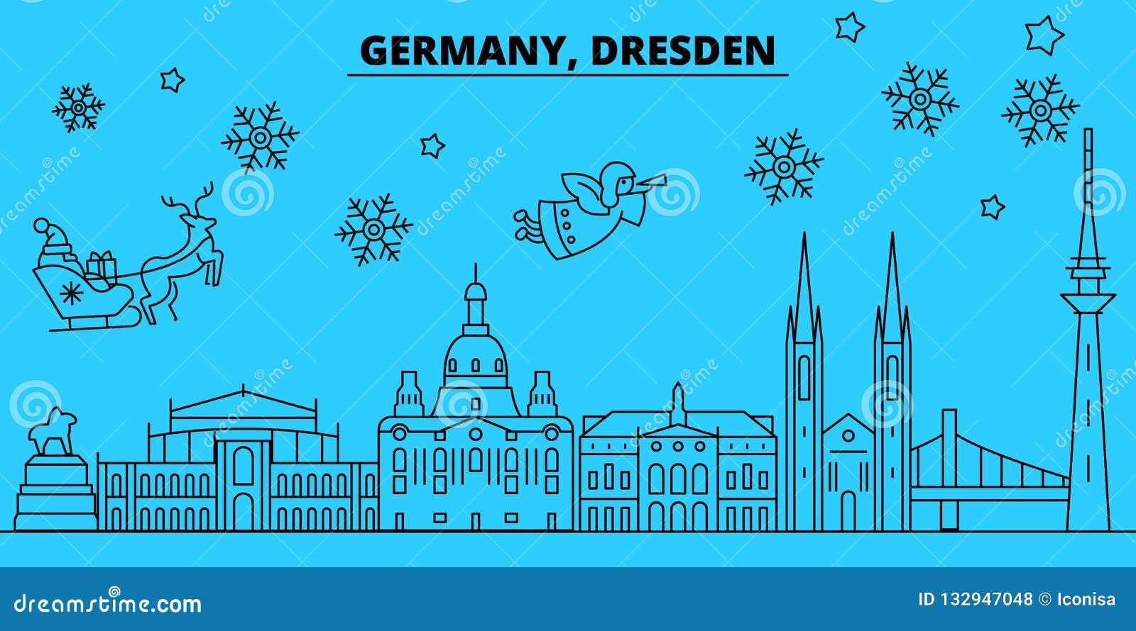 Frohe Weihnachten Aus Deutschland.Winterurlaubskyline Deutschlands Dresden Frohe Weihnachten