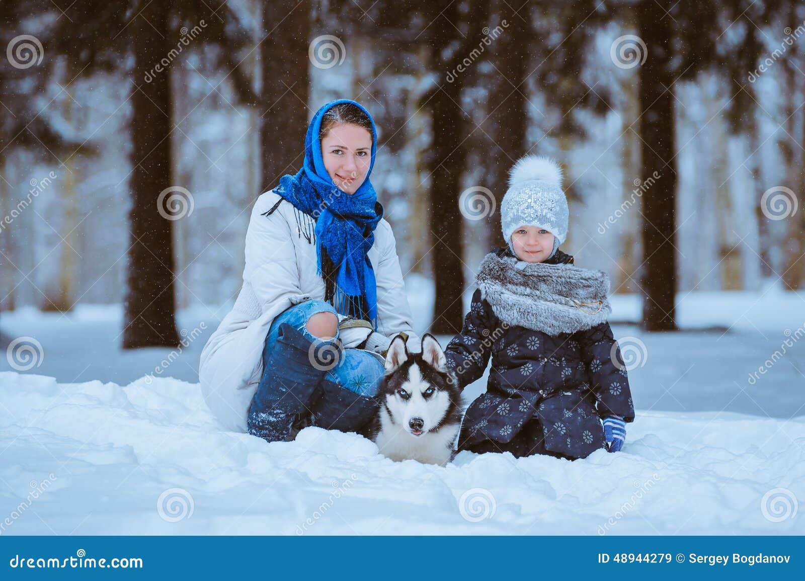 Winterweg mit Schlittenhund