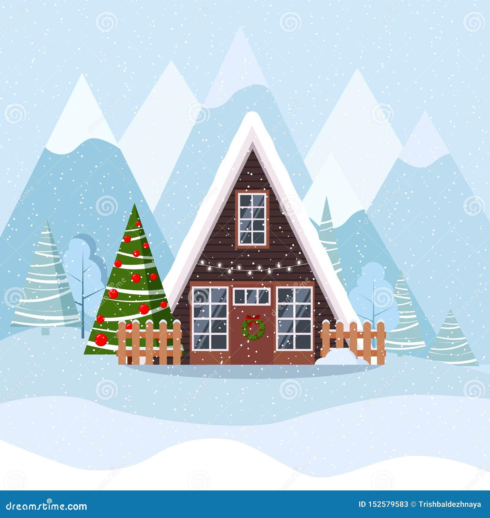 Winterweihnachtslandschaft mit Einrahmenhaus in skandinavische Art verzierter Girlande und in Kranz