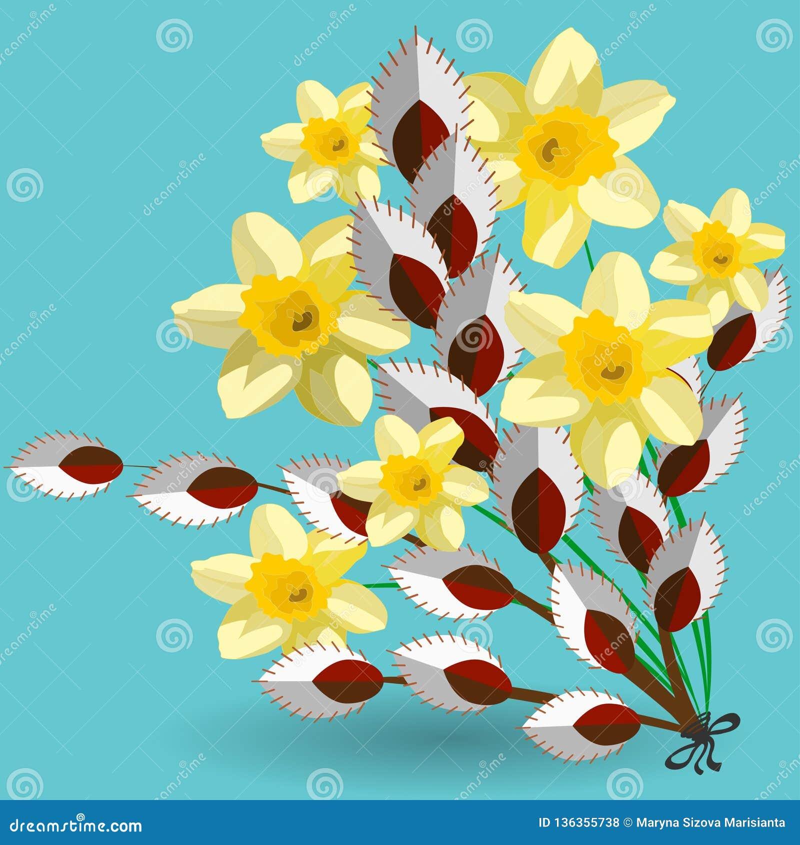 Wiosna bukiet daffodils i kici wierzba kwitnie