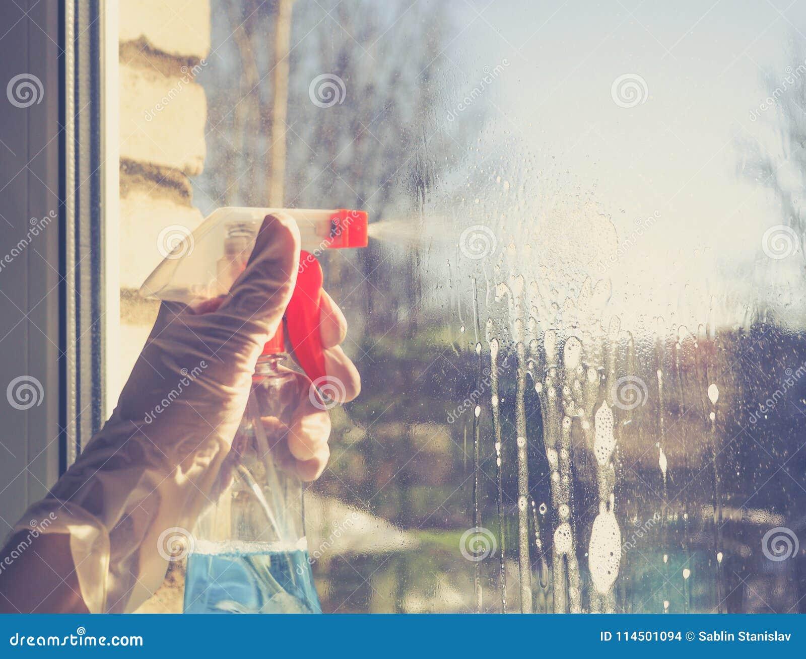 Wiosny cleaning - cleaning okno Kobiety ` s ręki myją okno, czyści