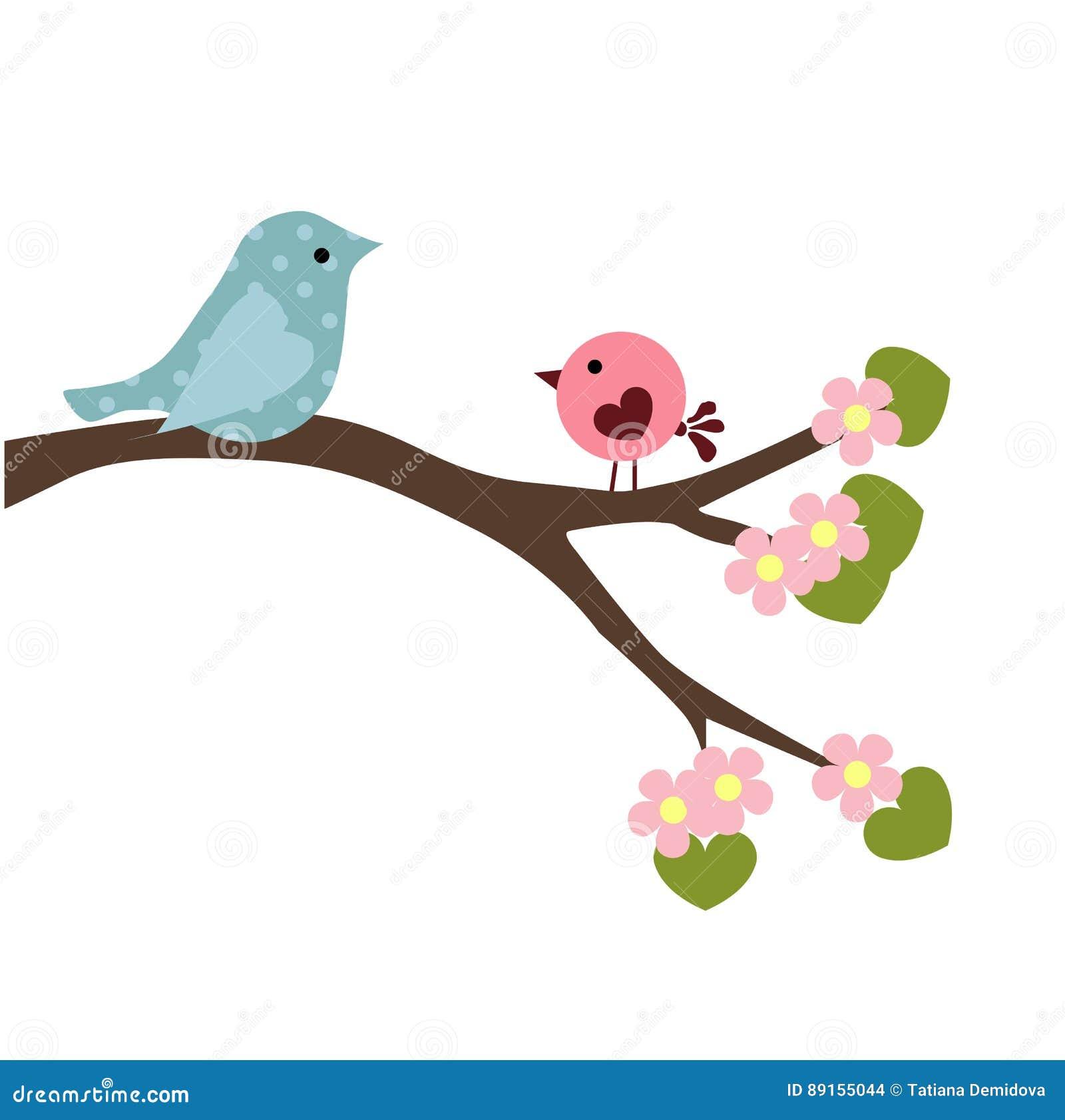 Wiosny Dziecka Ilustracja Para Ptaki Na Gałąź Ilustracja Wektor