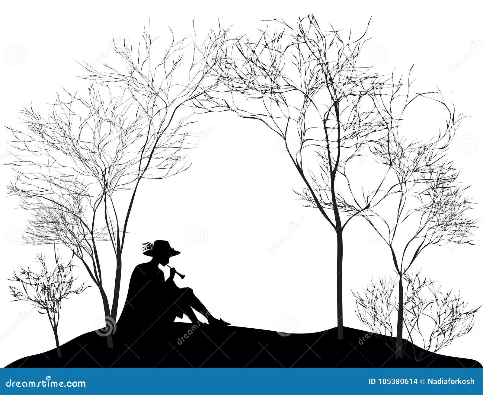 Wiosny melodia, sylwetka chłopiec obsiadanie na wzgórze gazonie i bawić się na trzcinowej drymbie, czarny i biały,