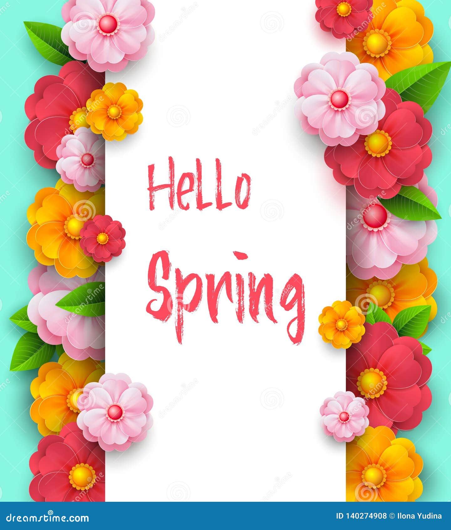 Wiosny sprzedaży sztandaru szablon z papierowymi żywymi kolorami na kolorowym tle Sezonowi rabaty Macierzysty s dnia sztandar