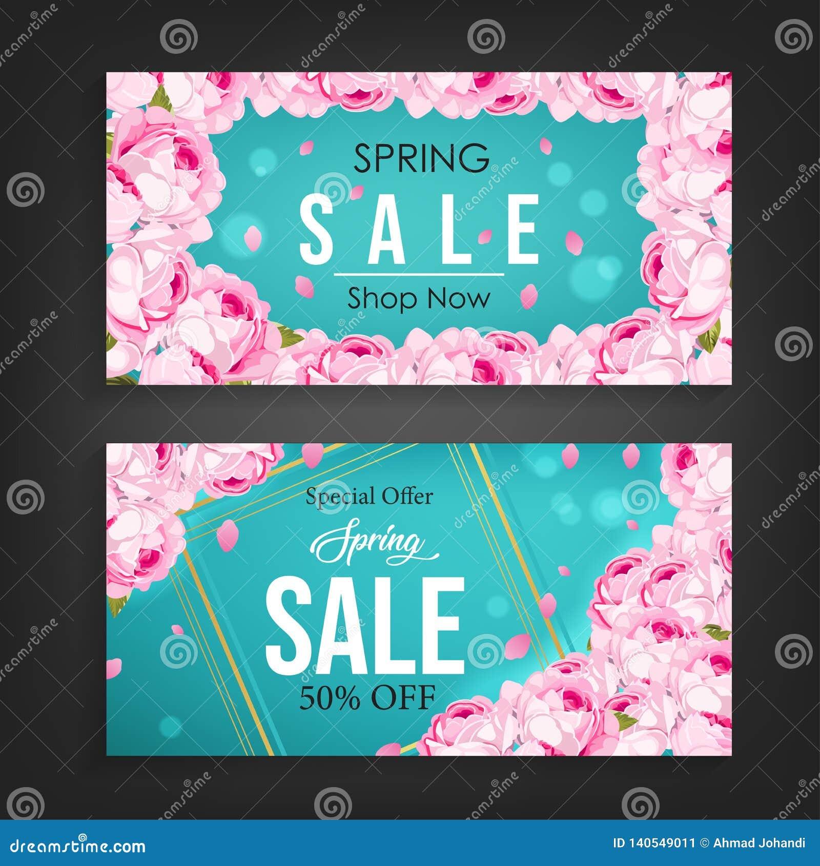 Wiosny sprzedaży sztandaru tło z pięknym kwiatu wzoru elementem