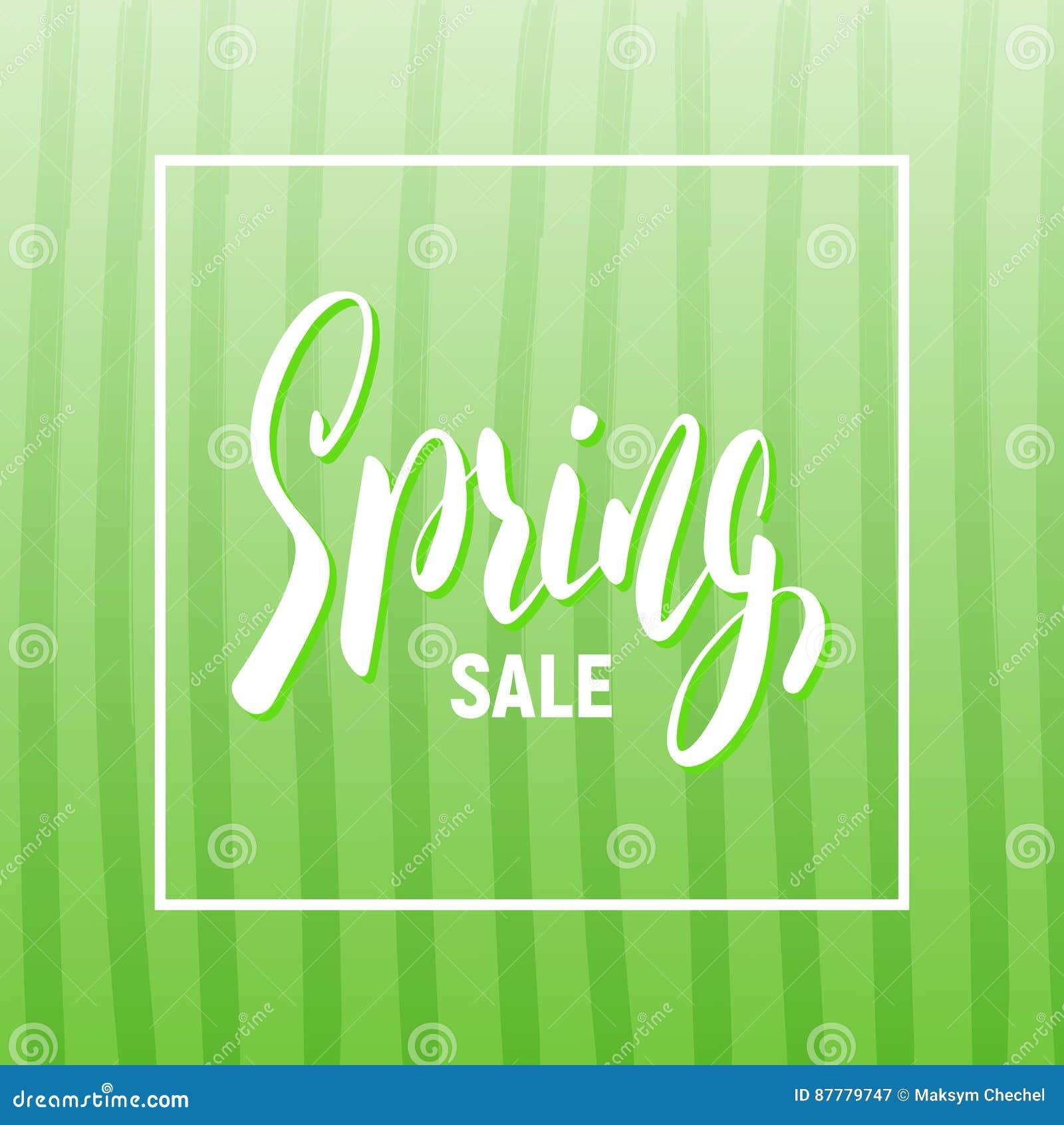 Wiosny sprzedaż Sezonowy sztandar z modnym pasiastym tłem i literowaniem