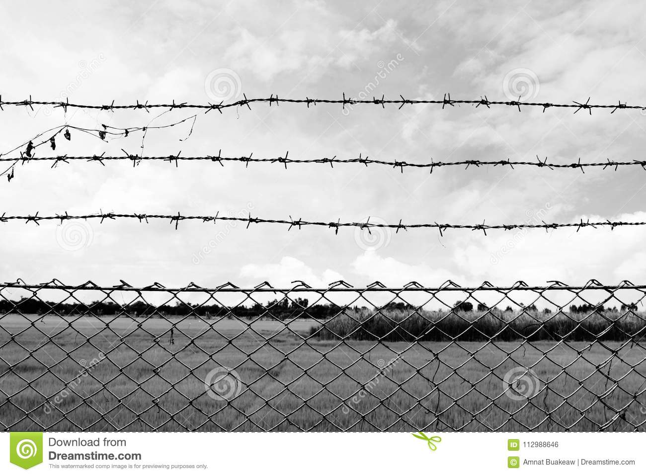 Barbed wire imprison, detention center, incarcerate, at countryside and background gray color style