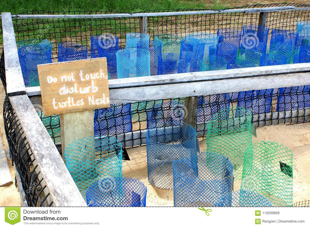 Wire Cage With Blue Wire Tubes And Turtle Eggs Stock Image - Image ...