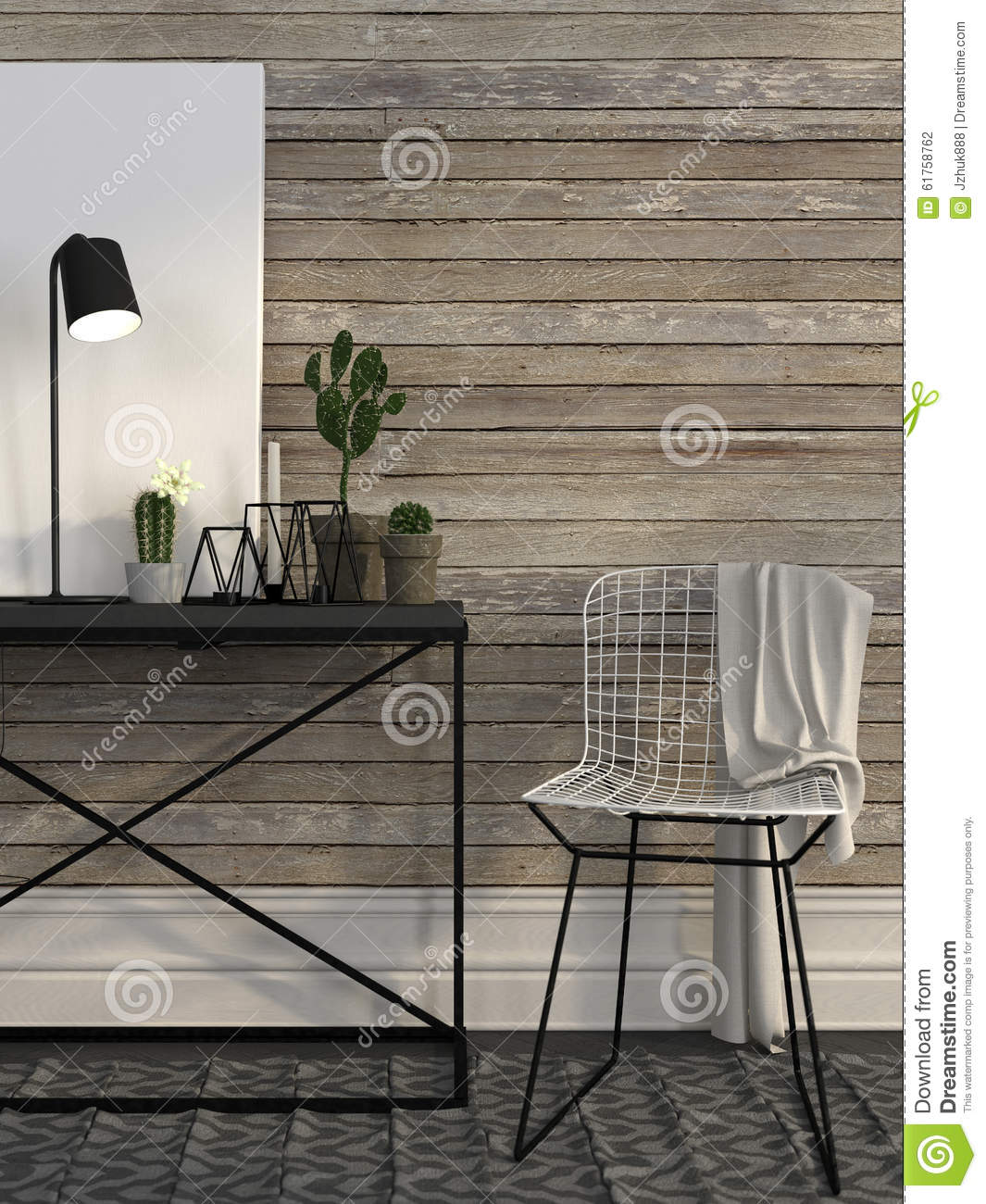 wire chair and metal table against a wall of brown boards stock illustration image 61758762. Black Bedroom Furniture Sets. Home Design Ideas