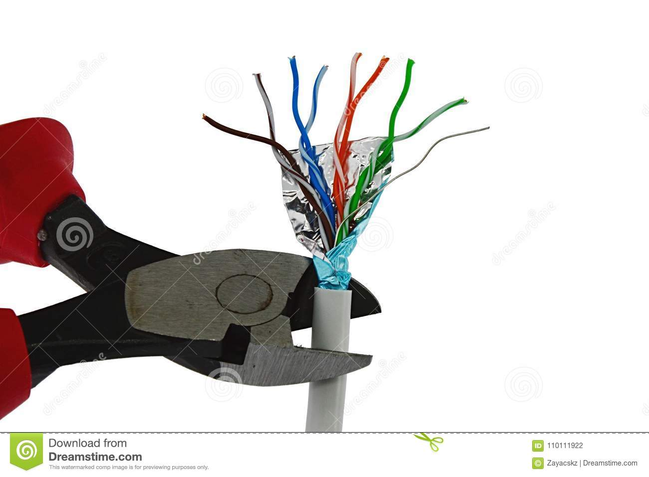 Wire-cutters Pliers Cutting End Of Data STP LAN Cable, White ...