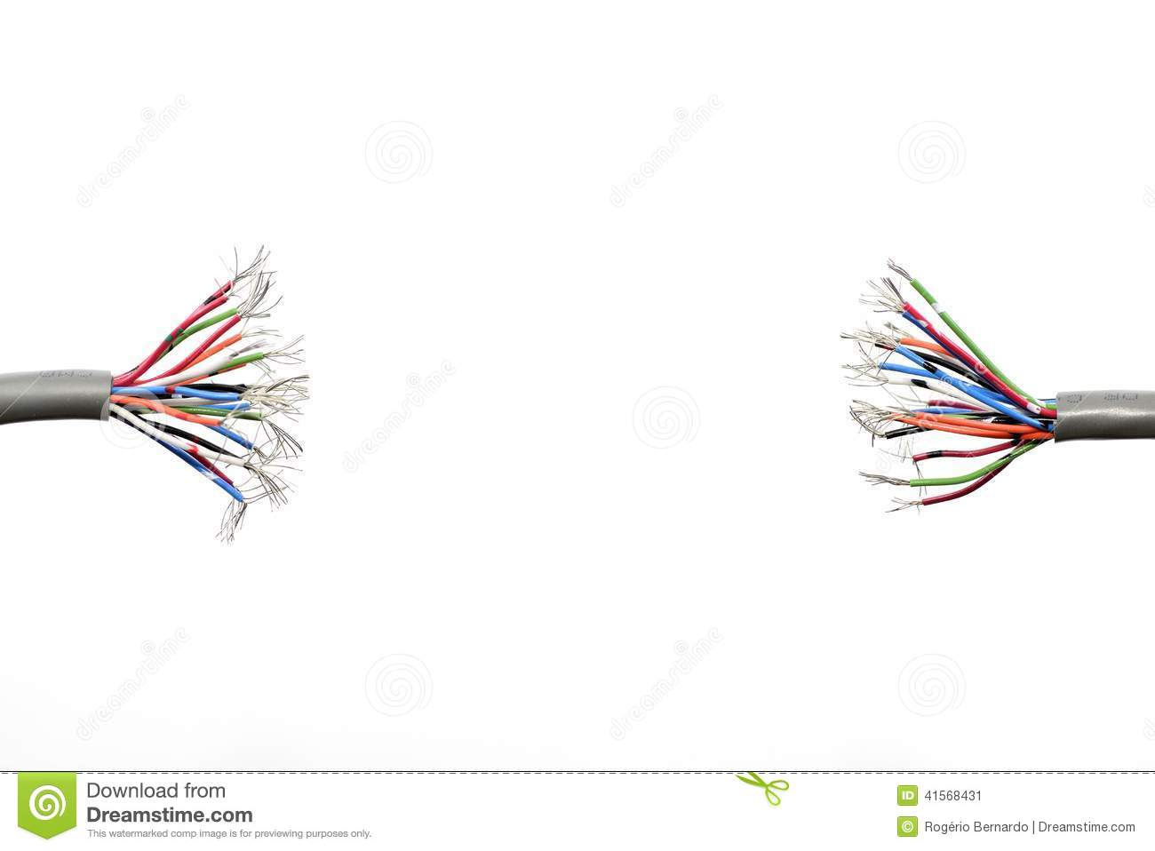 Wire ends stock image. Image of wires, frayed, isolated - 41568431
