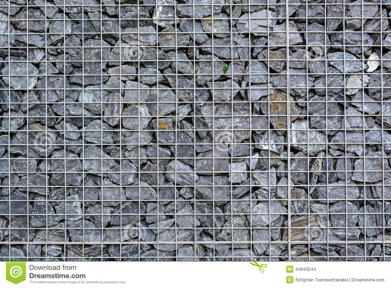 Wire Fence Filled With Stones Stock Photo Image 44943244