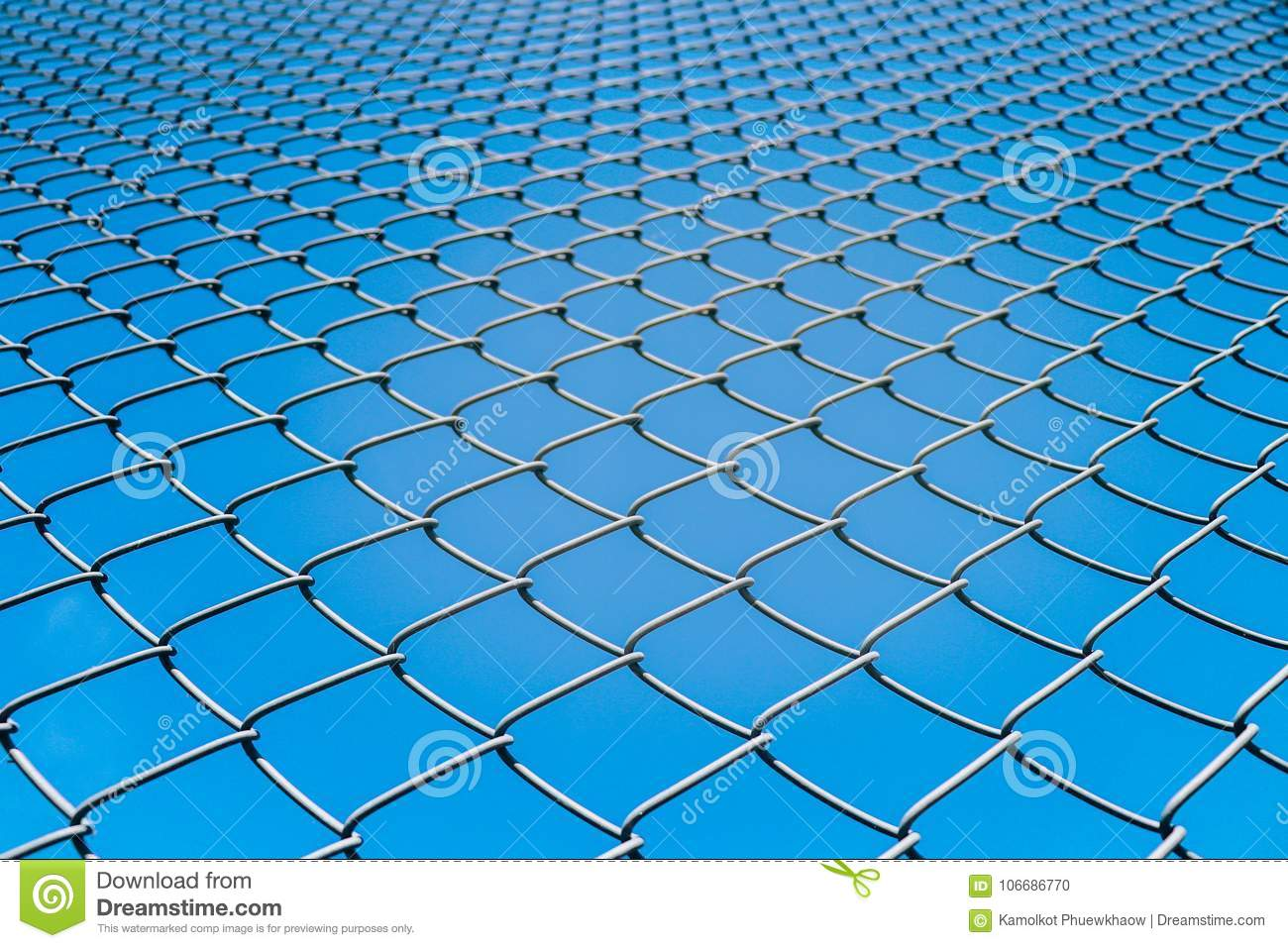 Wire Fence Or Metal Net On Blue Sky Background Stock Photo - Image ...