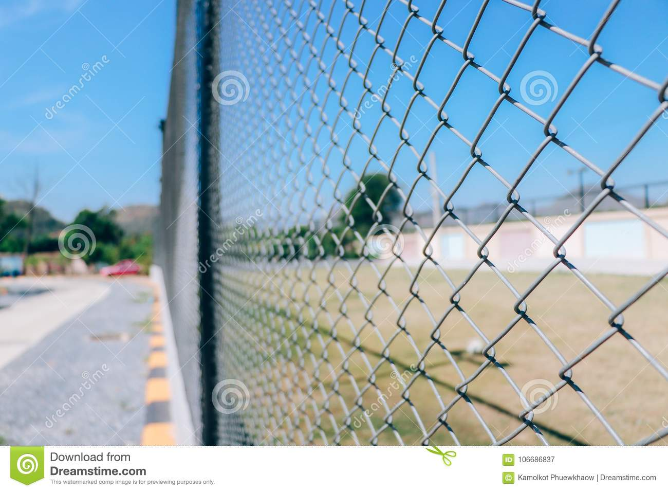Wire Fence Or Metal Net Of Football Field Stock Image - Image of ...