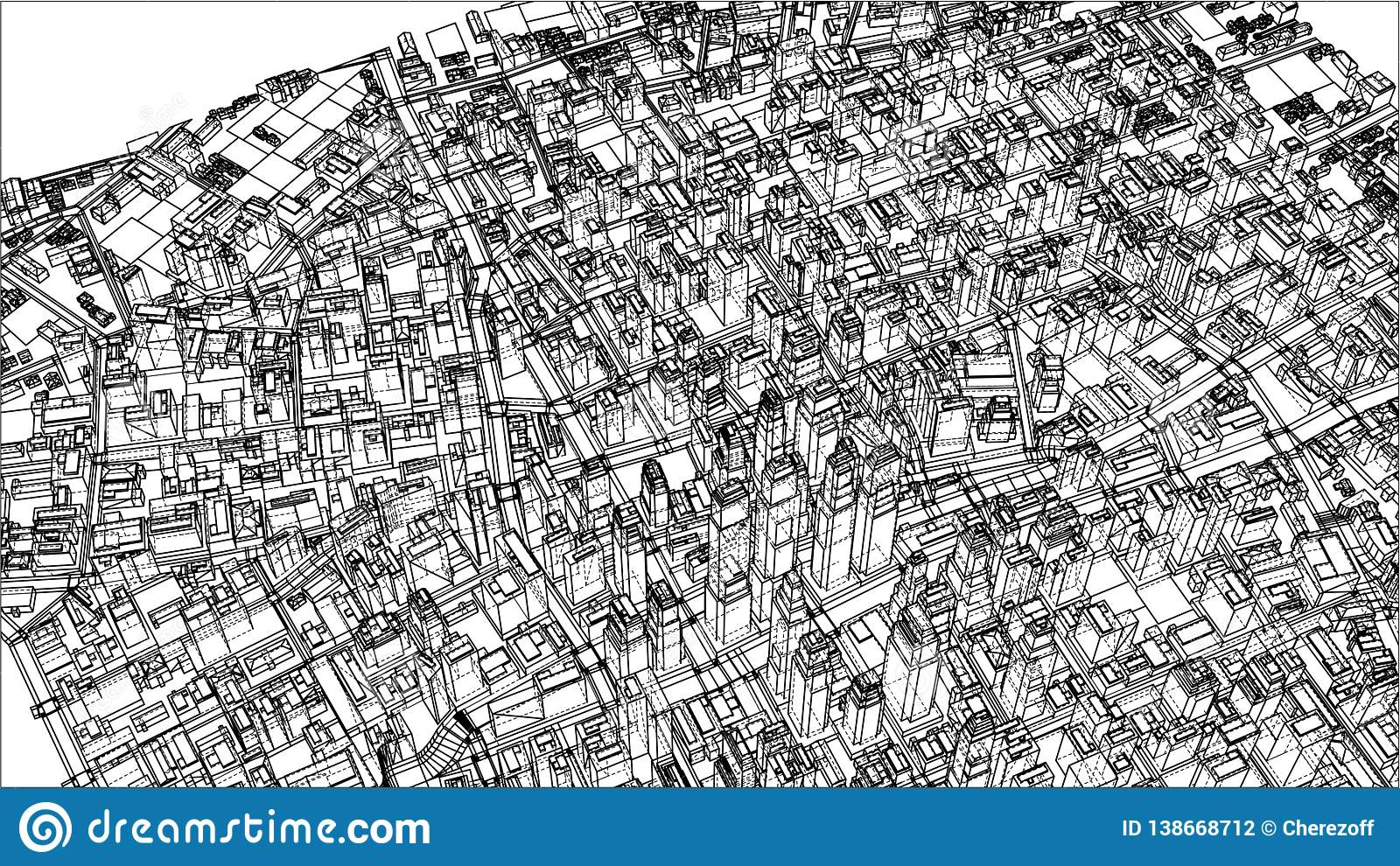 Wire-frame City, Blueprint Style Stock Vector - Illustration