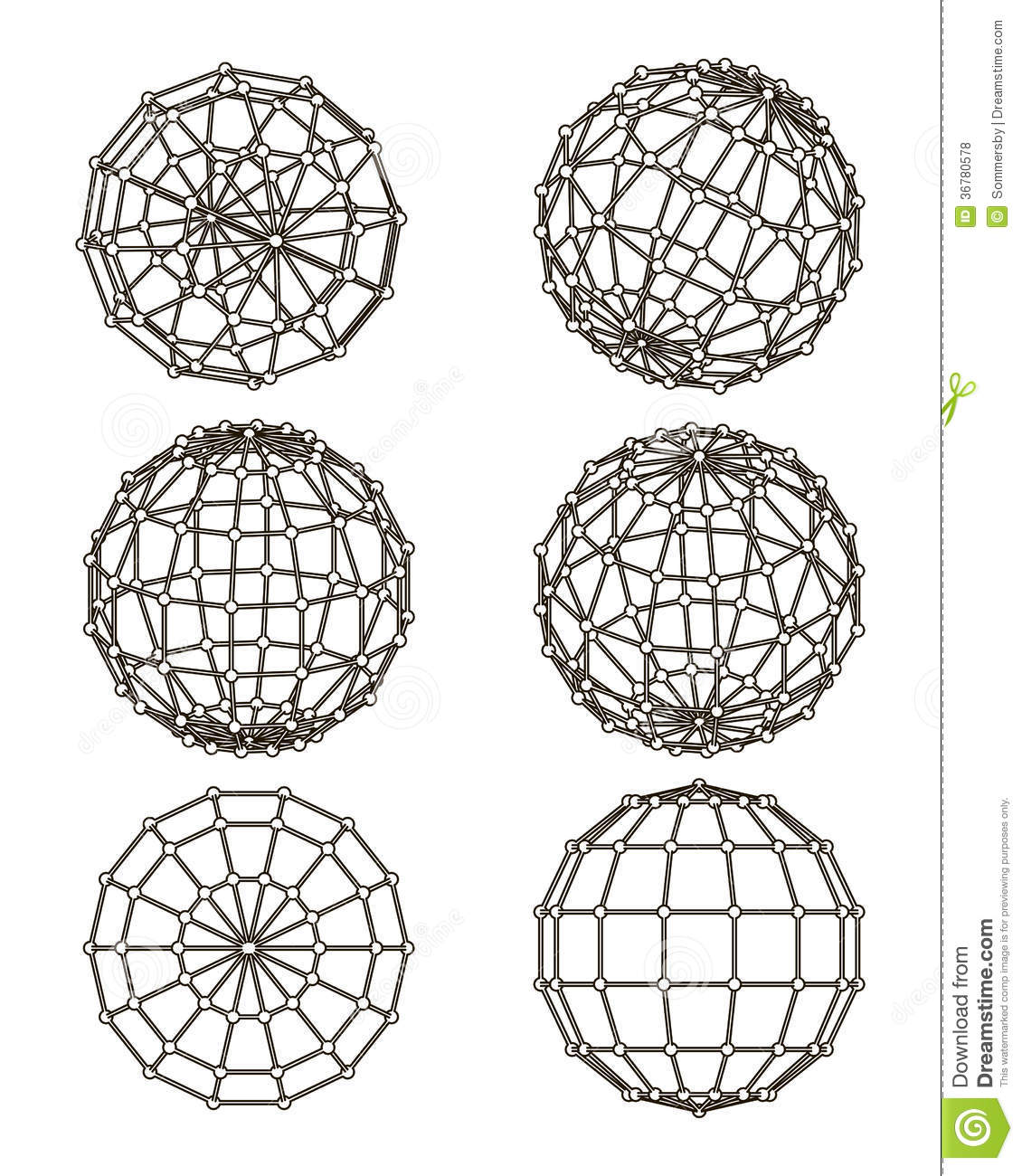 Elements Of Design Form : Wire frame elements in the form of sphere royalty free