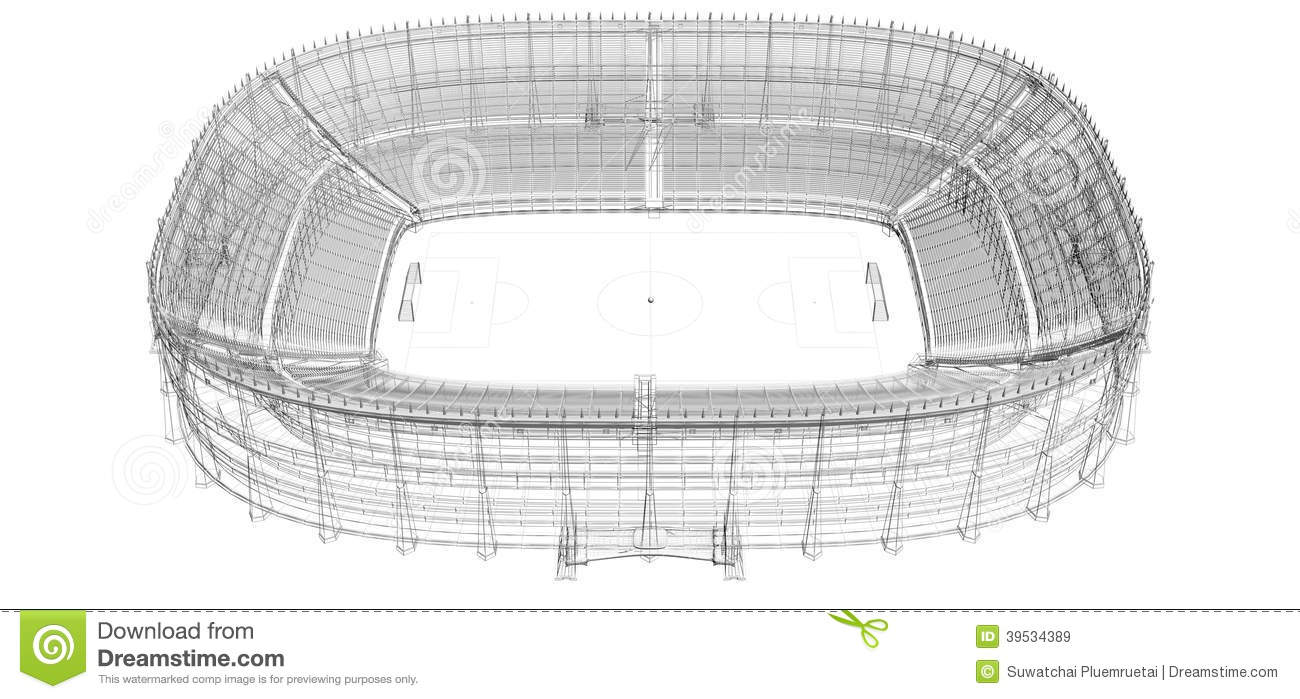 Wire Frame Of Football Or Soccer Stadium Stock