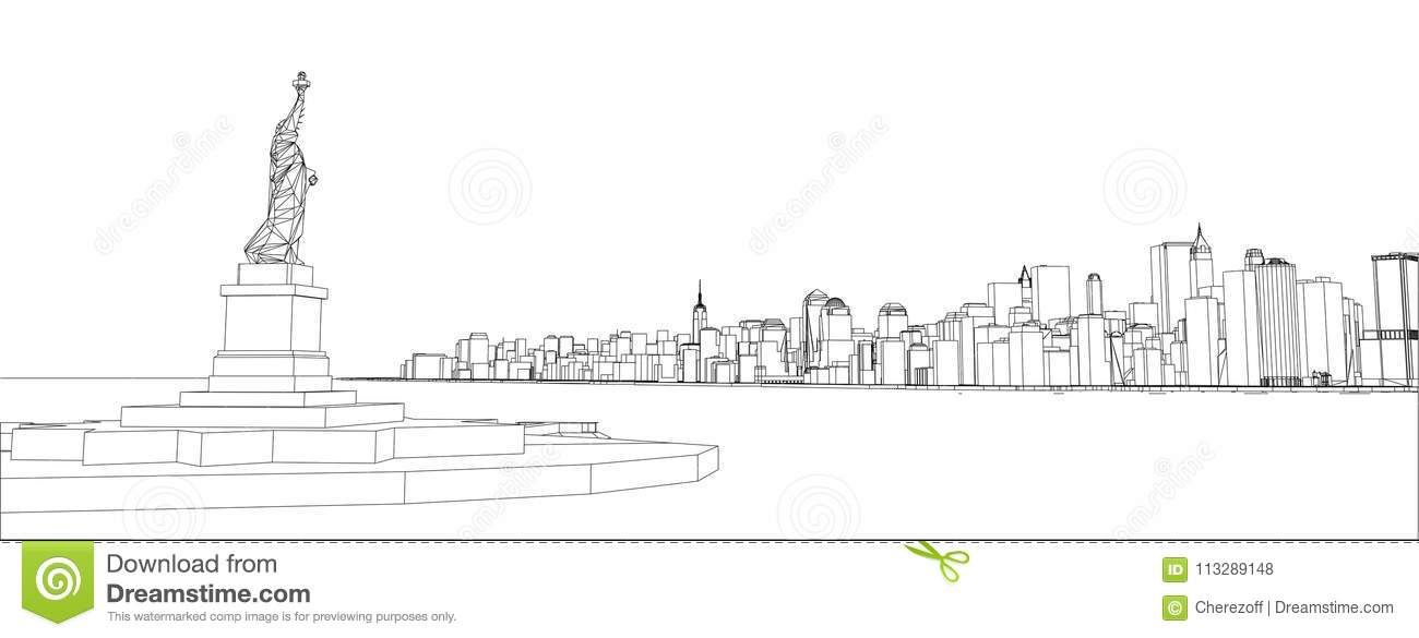 Wire-frame New York City, Blueprint Style Stock Illustration ...