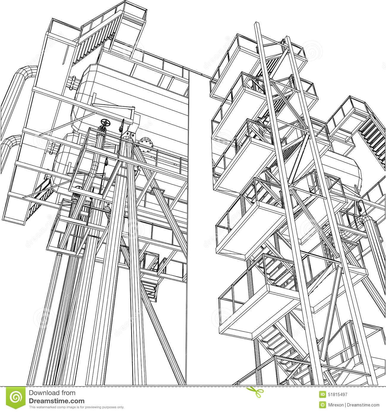 Wire-Frame Oil And Gas Industrial Equipment Illustration 51815497 ...