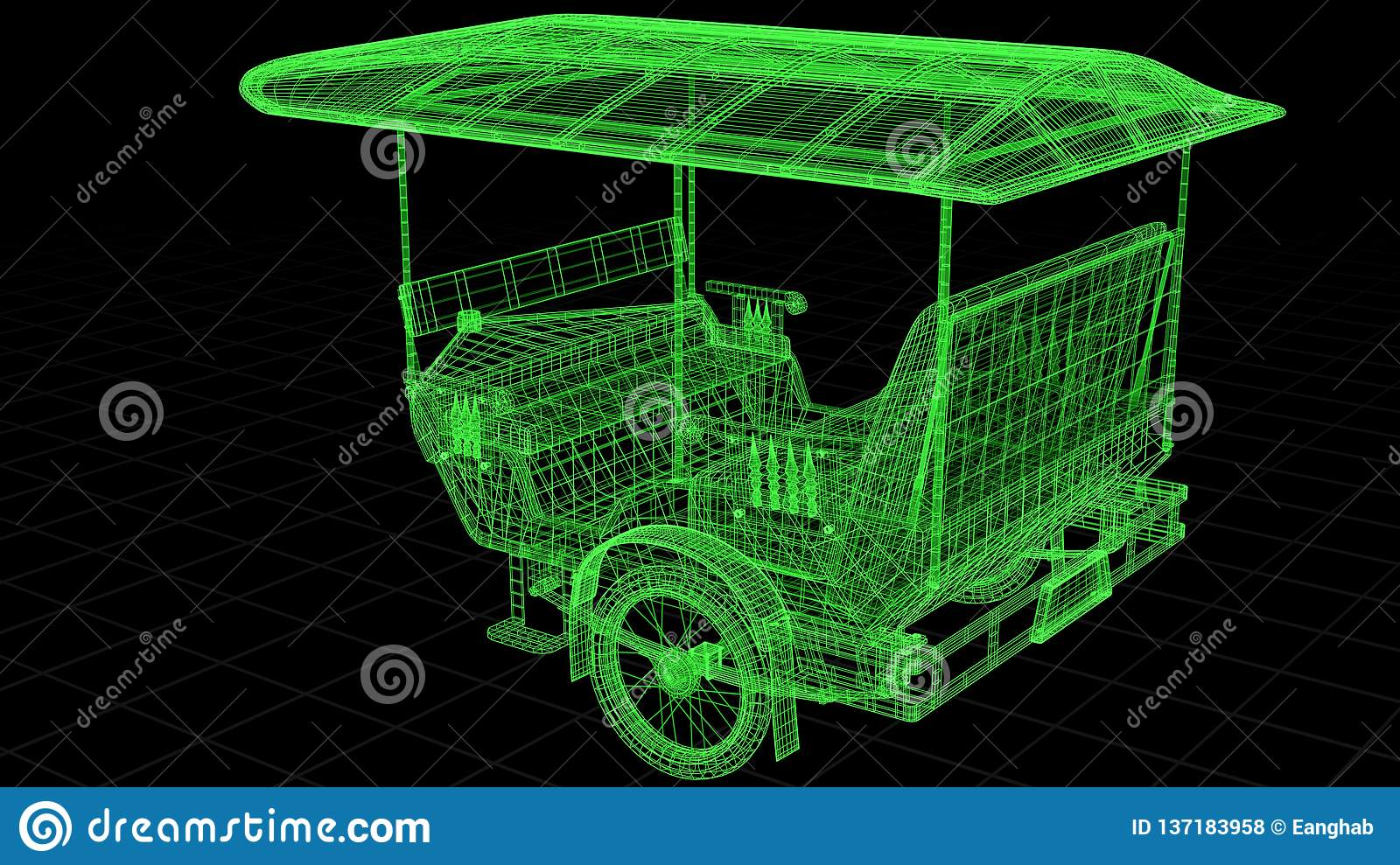 Wire-frame view of Tuk Tuk In Asia fully 3D rendered.