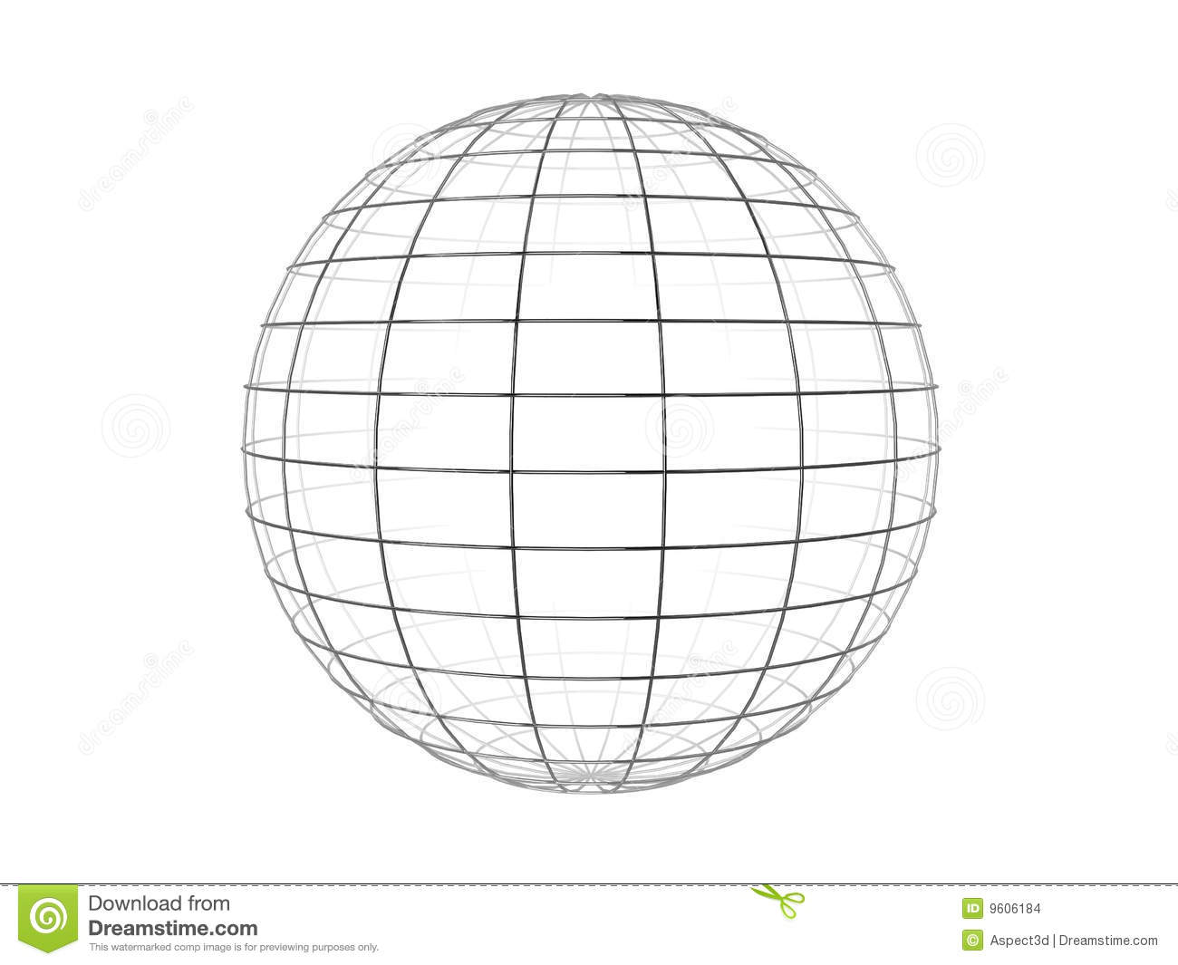 Illustration of a metallic wire frame sphere, isolated on a white ...