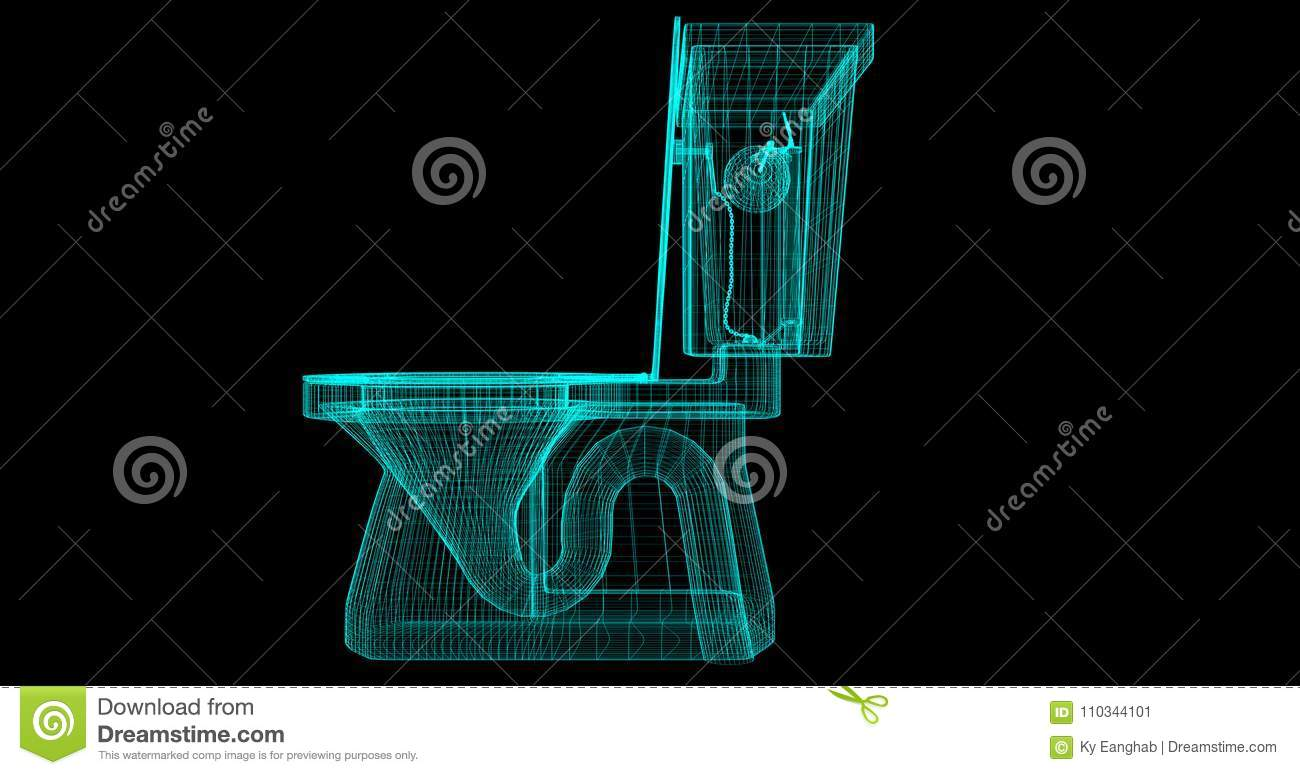 A Wire-Frame of a toilet, 3D rendered with my own design.