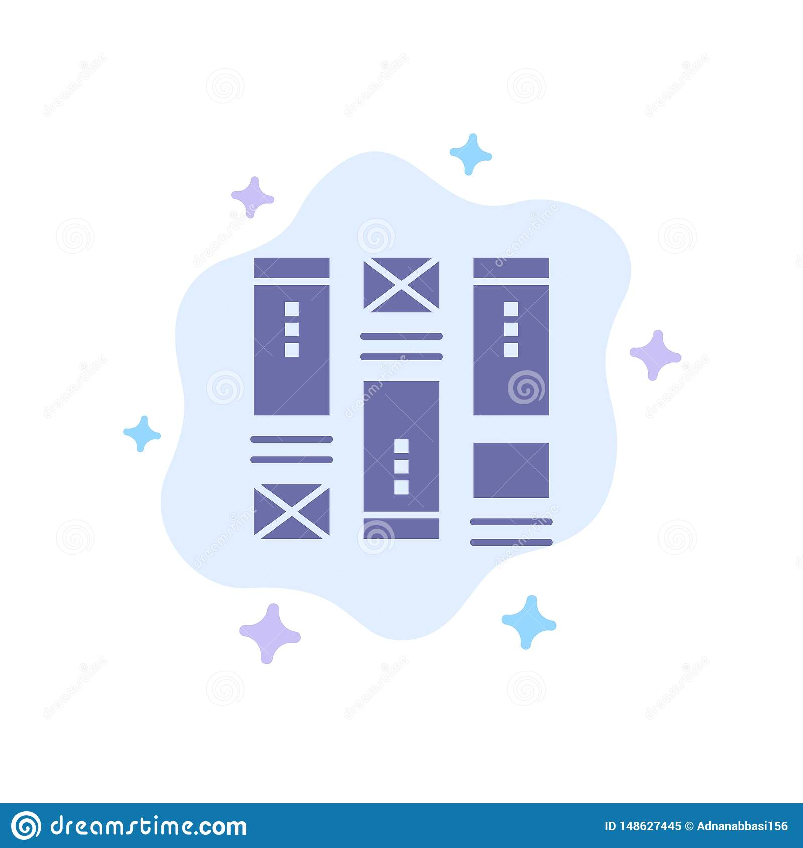 Wire framing, Sketching, Wireframe, Idea Blue Icon on Abstract Cloud Background