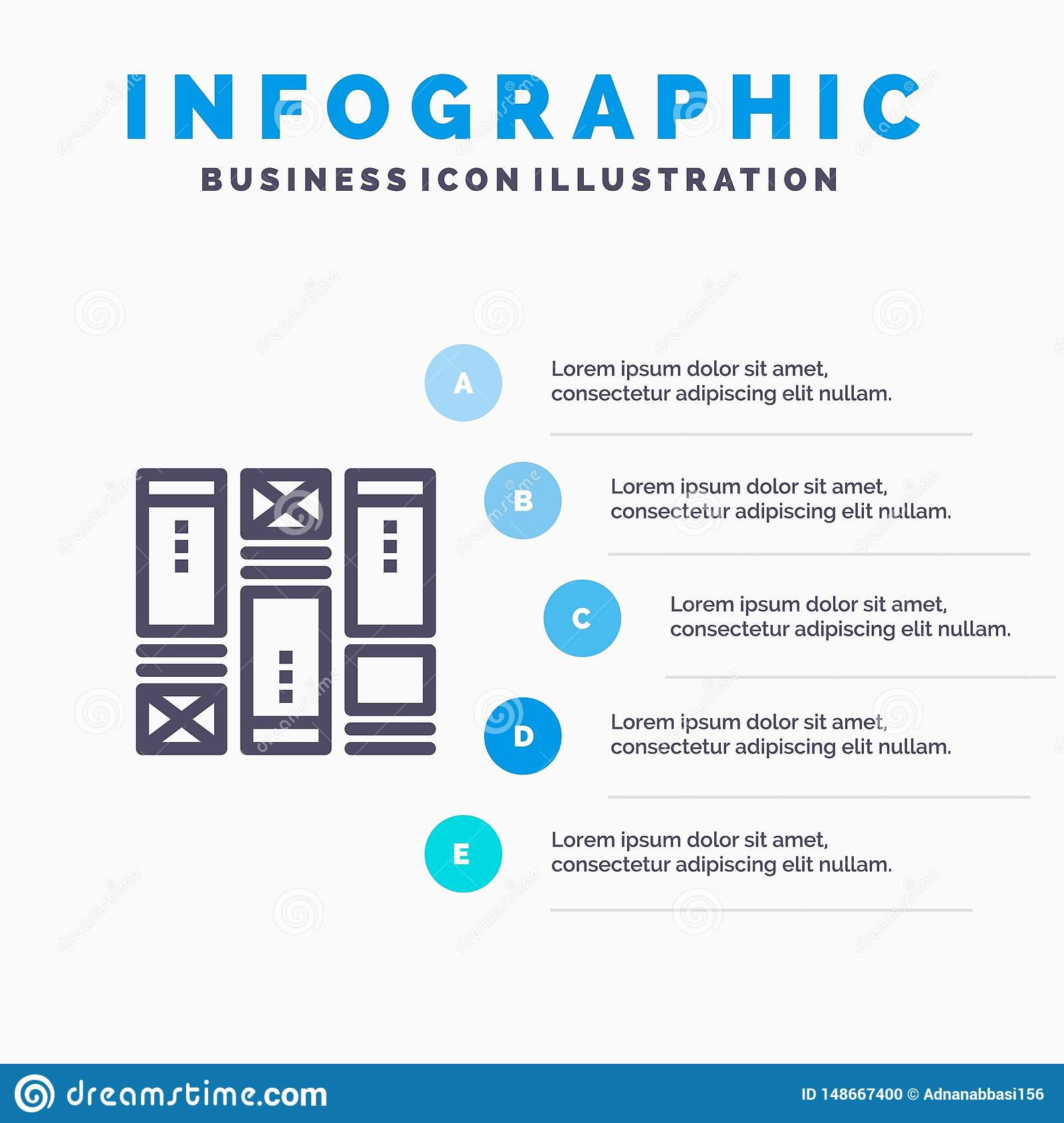 Wire framing, Sketching, Wireframe, Idea Blue Infographics Template 5 Steps. Vector Line Icon template