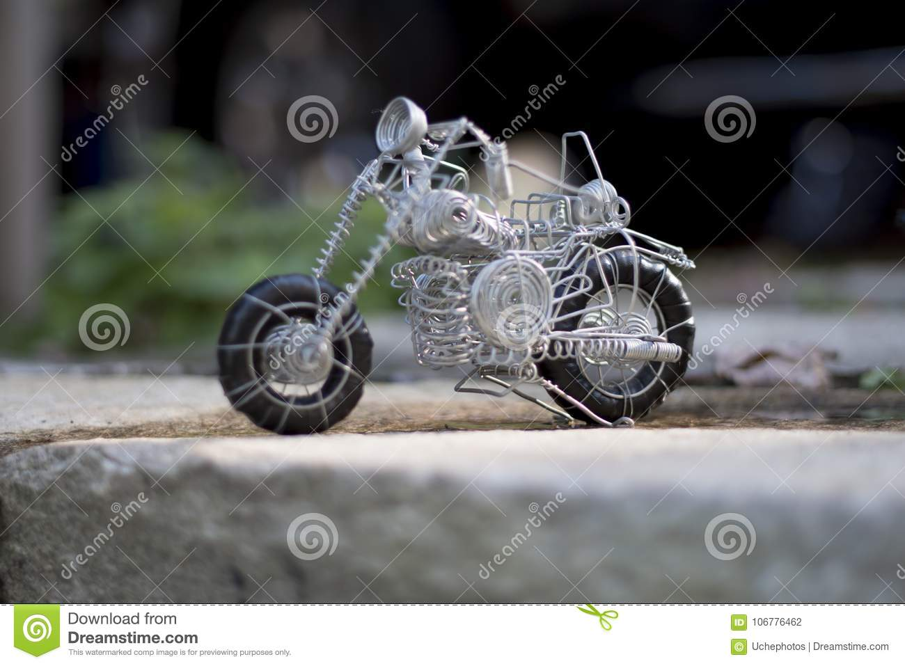 Wire Made Toy, A Motorbike Of Its Kind Stock Photo - Image of hand ...