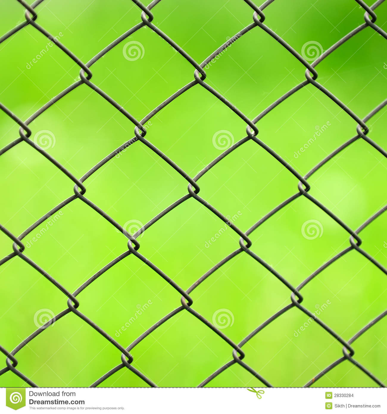 Wire Mesh Fence Close Up On Green Background Stock Photo