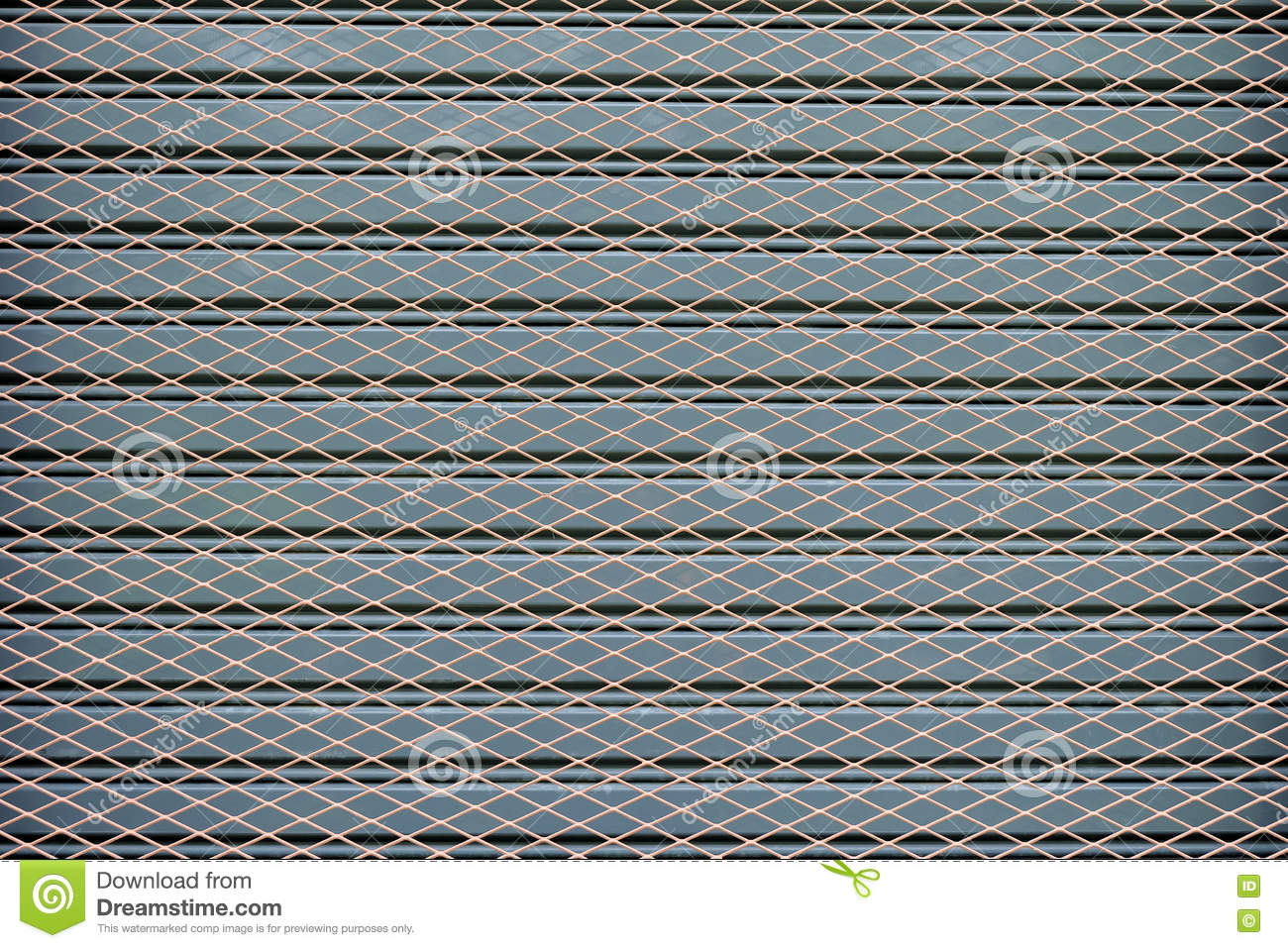 Wire Mesh Fence On Gray Steel Stock Image - Image of aluminum ...