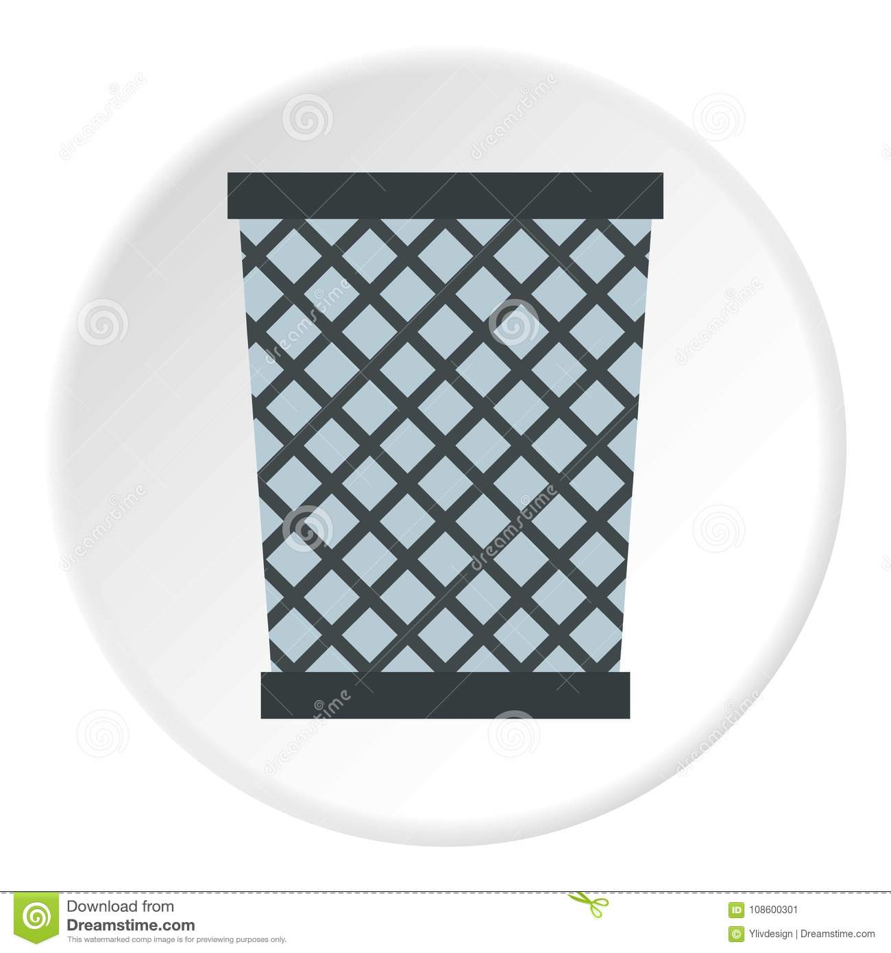 Wire metal bin icon circle stock vector. Illustration of sign ...