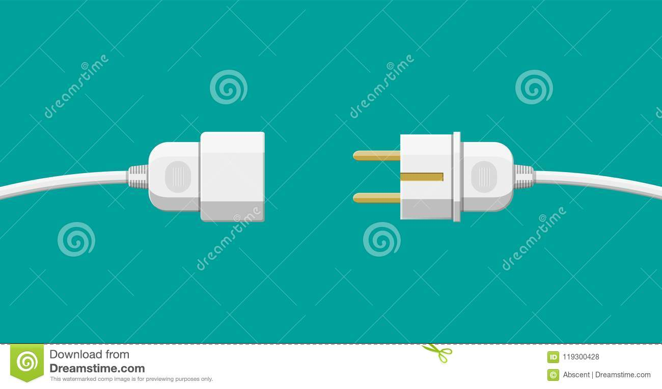 Wire plug and socket. stock vector. Illustration of icon - 119300428