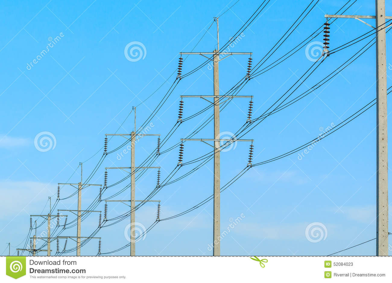 Wire Pole At High Voltage Electrical Post Stock Photo - Image ...