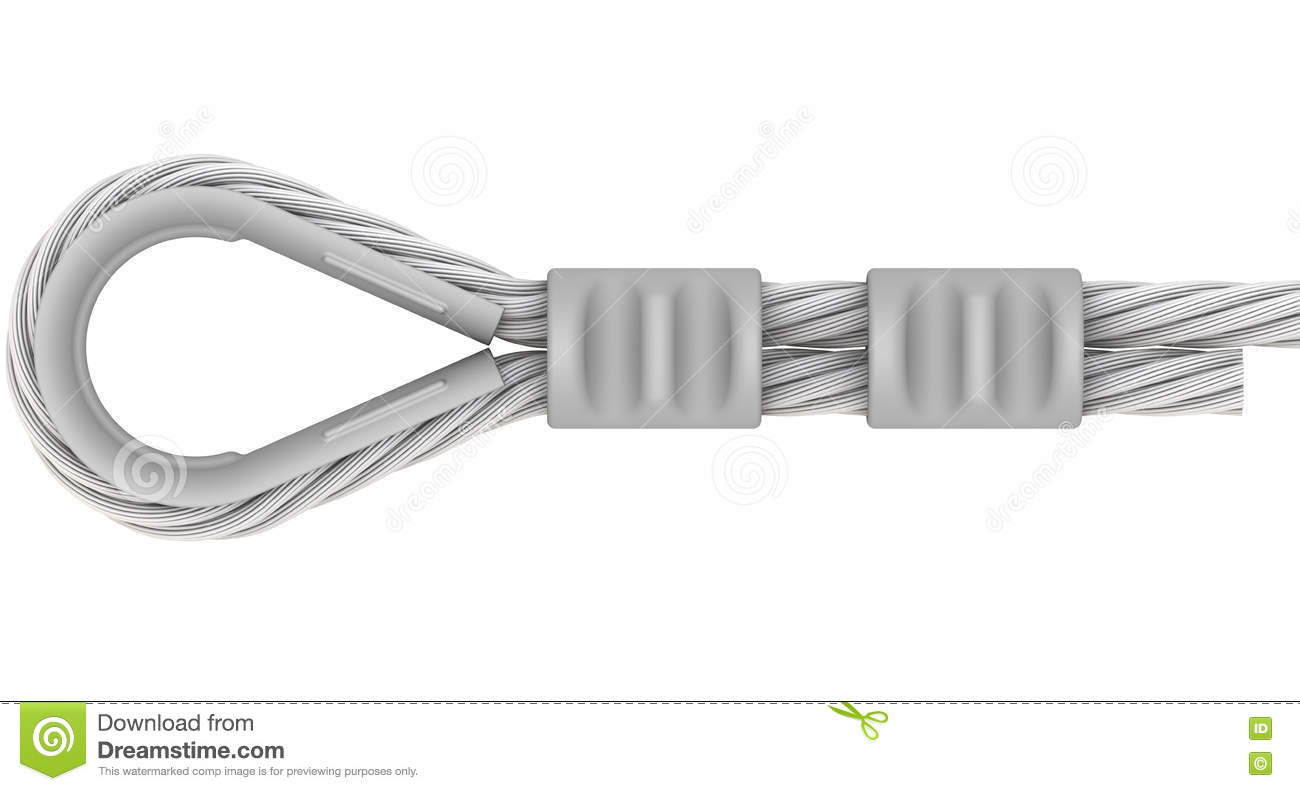 Wire Rope. Attachment Of Rope. Loop Stock Illustration ...