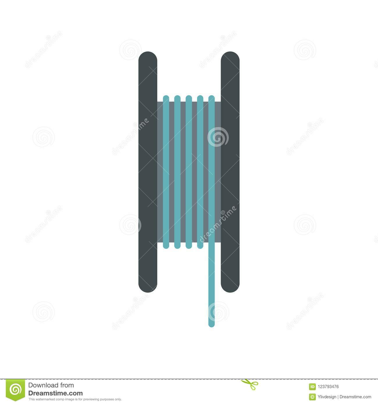 Wire Spool Icon, Flat Style Stock Illustration - Illustration of ...